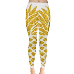 Pineapple Glitter Gold Yellow Fruit Leggings