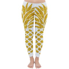 Pineapple Glitter Gold Yellow Fruit Classic Winter Leggings