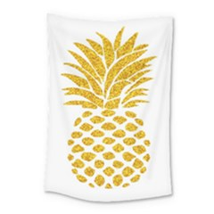 Pineapple Glitter Gold Yellow Fruit Small Tapestry by Alisyart