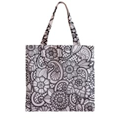 These Flowers Need Colour! Zipper Grocery Tote Bag by Simbadda