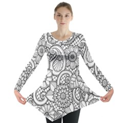 These Flowers Need Colour! Long Sleeve Tunic  by Simbadda