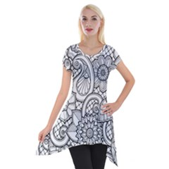 These Flowers Need Colour! Short Sleeve Side Drop Tunic by Simbadda