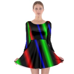 Multi Color Neon Background Long Sleeve Skater Dress by Simbadda