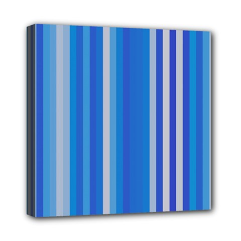 Color Stripes Blue White Pattern Mini Canvas 8  X 8  by Simbadda