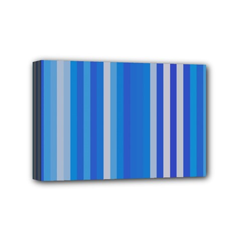 Color Stripes Blue White Pattern Mini Canvas 6  X 4  by Simbadda