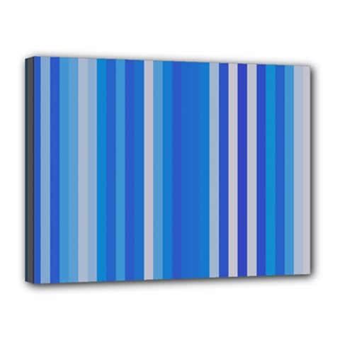 Color Stripes Blue White Pattern Canvas 16  X 12  by Simbadda