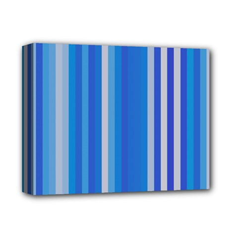 Color Stripes Blue White Pattern Deluxe Canvas 14  X 11  by Simbadda