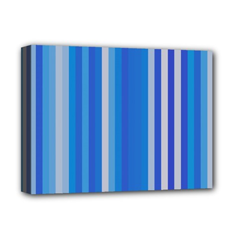 Color Stripes Blue White Pattern Deluxe Canvas 16  X 12   by Simbadda
