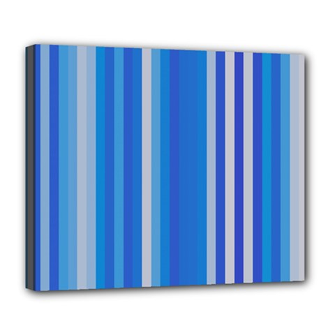 Color Stripes Blue White Pattern Deluxe Canvas 24  X 20