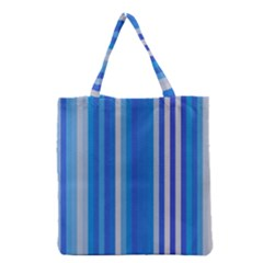 Color Stripes Blue White Pattern Grocery Tote Bag by Simbadda