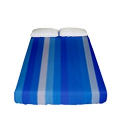 Color Stripes Blue White Pattern Fitted Sheet (full/ Double Size) by Simbadda