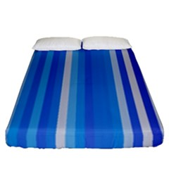 Color Stripes Blue White Pattern Fitted Sheet (queen Size) by Simbadda