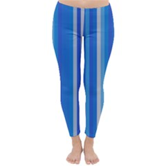 Color Stripes Blue White Pattern Classic Winter Leggings by Simbadda
