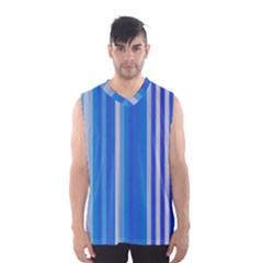 Color Stripes Blue White Pattern Men s Basketball Tank Top by Simbadda