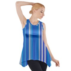 Color Stripes Blue White Pattern Side Drop Tank Tunic by Simbadda