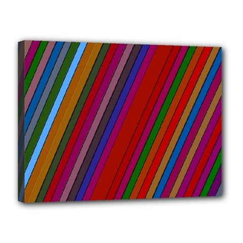 Color Stripes Pattern Canvas 16  X 12  by Simbadda