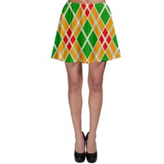 Colorful Color Pattern Diamonds Skater Skirt by Simbadda
