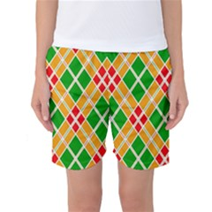 Colorful Color Pattern Diamonds Women s Basketball Shorts
