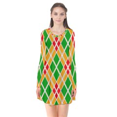 Colorful Color Pattern Diamonds Flare Dress