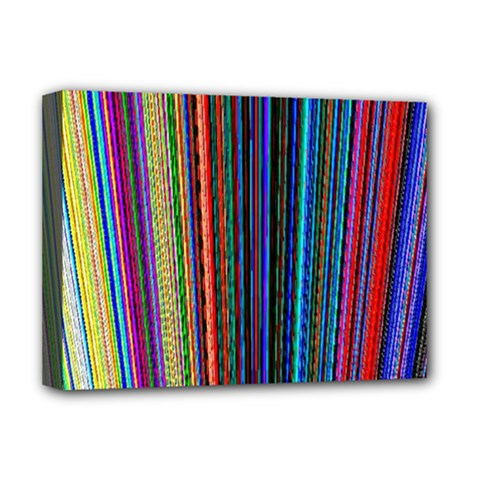 Multi Colored Lines Deluxe Canvas 16  X 12   by Simbadda