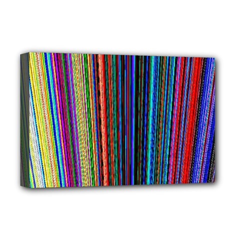 Multi Colored Lines Deluxe Canvas 18  X 12   by Simbadda