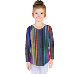 Multi Colored Lines Kids  Long Sleeve Tee by Simbadda