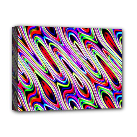 Multi Color Wave Abstract Pattern Deluxe Canvas 16  X 12   by Simbadda