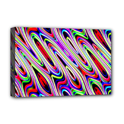 Multi Color Wave Abstract Pattern Deluxe Canvas 18  X 12