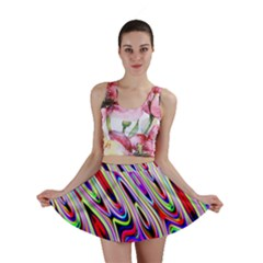 Multi Color Wave Abstract Pattern Mini Skirt