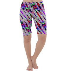 Multi Color Wave Abstract Pattern Cropped Leggings  by Simbadda