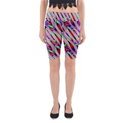 Multi Color Wave Abstract Pattern Yoga Cropped Leggings by Simbadda