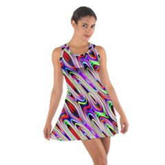 Multi Color Wave Abstract Pattern Cotton Racerback Dress by Simbadda
