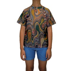 Swirl Colour Design Color Texture Kids  Short Sleeve Swimwear by Simbadda
