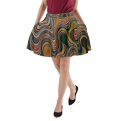 Swirl Colour Design Color Texture A Line Pocket Skirt