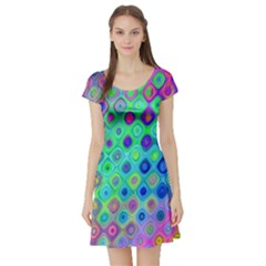 Background Texture Pattern Colorful Short Sleeve Skater Dress by Simbadda