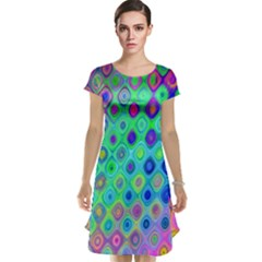 Background Texture Pattern Colorful Cap Sleeve Nightdress