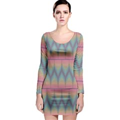 Pattern Background Texture Colorful Long Sleeve Bodycon Dress by Simbadda