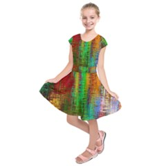 Color Abstract Background Textures Kids  Short Sleeve Dress by Simbadda