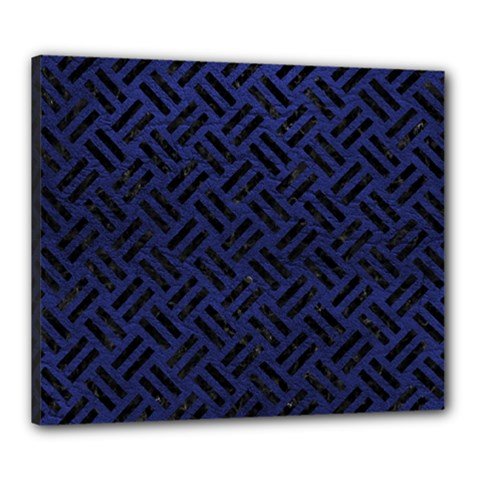 Woven2 Black Marble & Blue Leather (r) Canvas 24  X 20  (stretched) by trendistuff