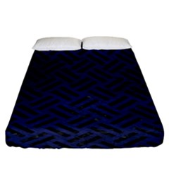 Woven2 Black Marble & Blue Leather (r) Fitted Sheet (king Size) by trendistuff