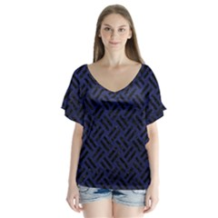 Woven2 Black Marble & Blue Leather (r) V Neck Flutter Sleeve Top by trendistuff