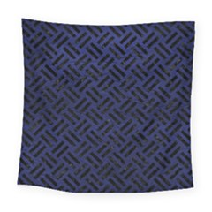 Woven2 Black Marble & Blue Leather (r) Square Tapestry (large) by trendistuff