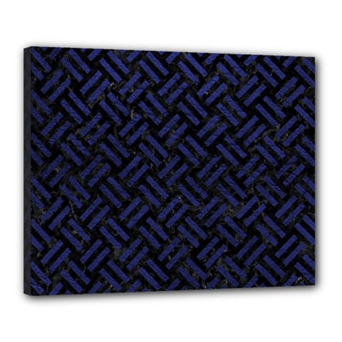 Woven2 Black Marble & Blue Leather Canvas 20  X 16  (stretched) by trendistuff