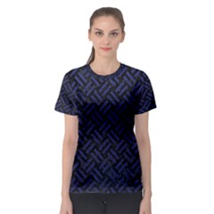 Woven2 Black Marble & Blue Leather Women s Sport Mesh Tee by trendistuff