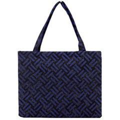 Woven2 Black Marble & Blue Leather Mini Tote Bag by trendistuff