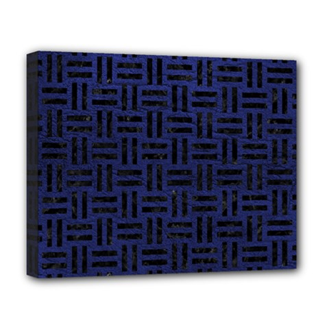 Woven1 Black Marble & Blue Leather (r) Deluxe Canvas 20  X 16  (stretched) by trendistuff