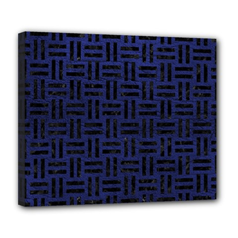 Woven1 Black Marble & Blue Leather (r) Deluxe Canvas 24  X 20  (stretched) by trendistuff