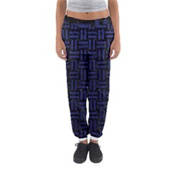 Woven1 Black Marble & Blue Leather Women s Jogger Sweatpants by trendistuff