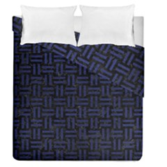 Woven1 Black Marble & Blue Leather Duvet Cover Double Side (queen Size) by trendistuff