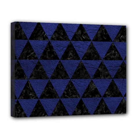 Triangle3 Black Marble & Blue Leather Canvas 14  X 11  (stretched) by trendistuff